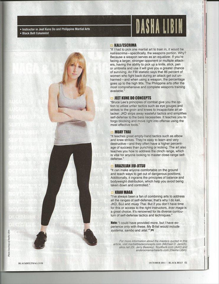 Dasha Libin on Black Belt Magazine's Top 10 Arts for Self Defense